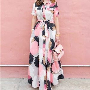 Banana Republic Floral Button Up Maxi Dress